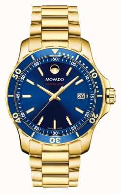 Movado Serie 800 esfera azul chapada en oro 2600144