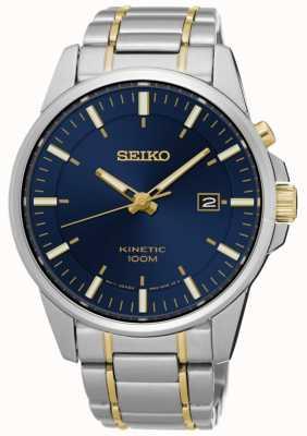 Seiko Mens kinetic dos tonos pulsera esfera azul SKA757P1