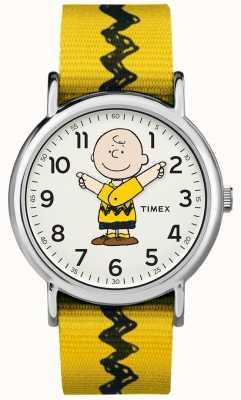 Timex Weekender charlie marrón cacahuete amarillo correa TW2R411006B