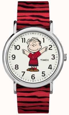Timex Weekender cacahuetes linus correa roja TW2R412006B