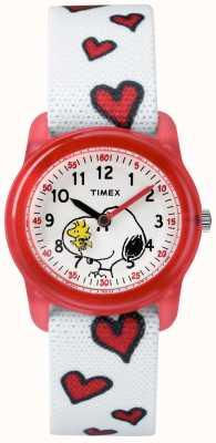 Timex Jóvenes analógica correa blanca snoopy corazones TW2R41600JE