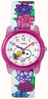 Timex Correa blanca análoga juvenil snoopy flores TW2R41700JE