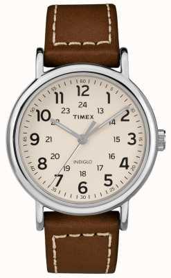Timex Mens semana de cuero marrón correa de cuero esfera blanca TW2R42400