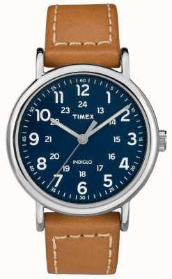 Timex Correa de cuero bronceado para hombre weekender azul TW2R42500D7PF