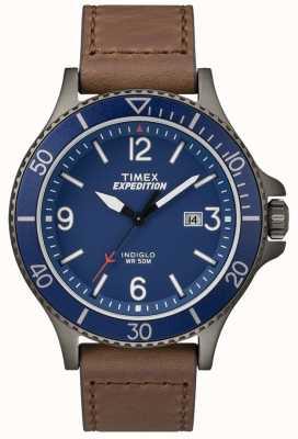 Timex Expedition ranger correa de piel marrón esfera azul TW4B10700