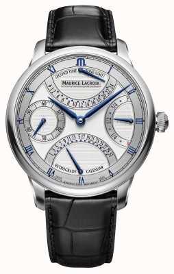Maurice Lacroix Reloj de cuero para hombre retrogrado doble Masterpiece MP6578-SS001-131-1
