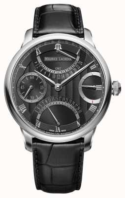 Maurice Lacroix Reloj negro de cuero para hombre retrograde doble de Masterpiece MP6578-SS001-331-1