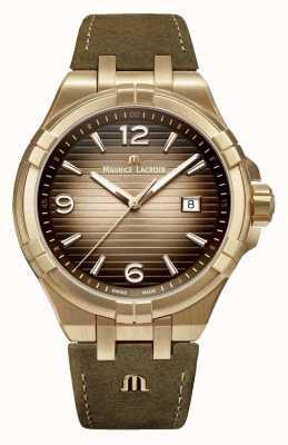 Maurice Lacroix Reloj de cuero de la vendimia del mens del bronce de Aikon AI1028-BRZ01-720-1