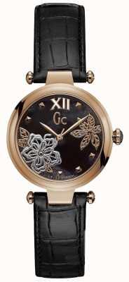 Gc Reloj de cuero negro elegante para mujer Y31007L2