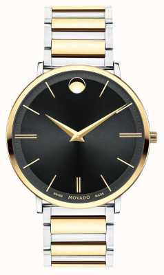 Movado Mens ultra delgado reloj de dos tonos 0607169