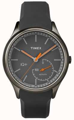 Timex Mens iq plus mueva la correa de silicona gris TW2P95000