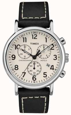 Timex Correa de cuero negro para cronógrafo de hombre weekender TW2R42800D7PF