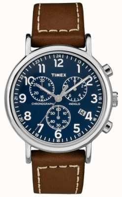 Timex Correa de cuero marrón cronógrafo para hombre TW2R42600D7