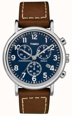 Timex Correa de cuero marrón cronógrafo weekender para hombre TW2R42600D7