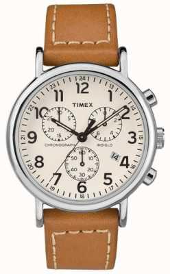 Timex Correa de cuero bronceado para hombre Weekender cronógrafo TW2R42700D7PF