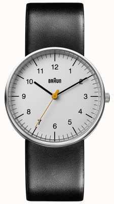 Braun Reloj de cuero negro unisex minimalista BN0021BKG