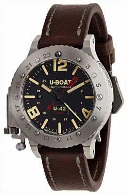 U-Boat Correa de cuero marrón de edición limitada u-42 gmt 50mm 8095
