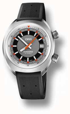 Oris Chronoris date gray dial black rubber strap 01 733 7737 4053-07 4 19 01FC