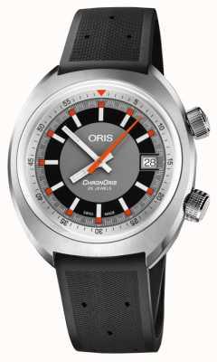 Oris Chronoris date gray dial black rubber strap 01 733 7737 4053-07 4 19 01FC