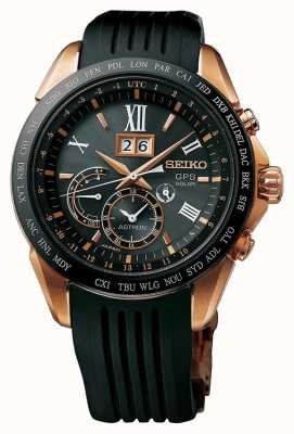 Seiko Astron gps black rubber chapado en oro rosa SSE153J1
