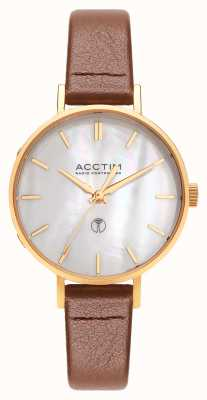 Acctim Reloj bonny radio control de cuero marrón para mujer 60516
