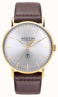 Acctim Reloj de cuero marrón con control de radio para hombre 60428