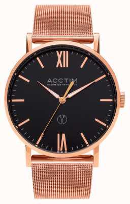 Acctim Reloj de pulsera de malla de oro rosa con control de radio esterlina para hombre 60410