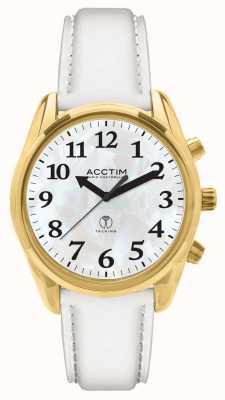 Acctim Reloj de cuero blanco hablando por radio Robin 60542