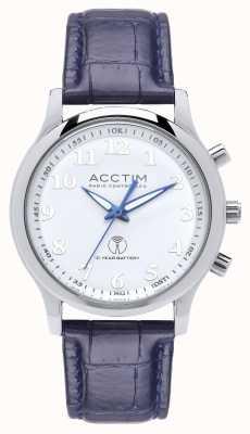 Acctim Reloj de correa de cuero azul con radio reloj para hombre 60059