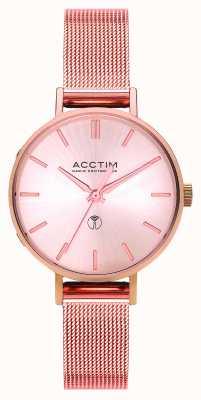 Acctim Reloj de pulsera de malla de oro rosa de radio bonny para mujer 60510