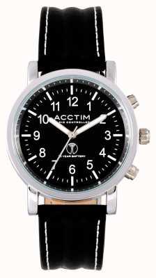 Acctim Reloj de correa de cuero negro con control de pilota para hombre 60233