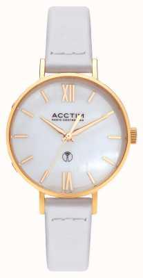 Acctim Reloj bonny radio control de cuero blanco para mujer 60522