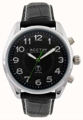 Acctim Reloj de cuero negro que habla controlados por radio highclere para hombre 60353