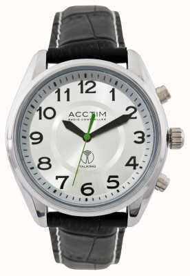 Acctim Reloj de cuero negro que habla controlados por radio highclere para hombre 60357