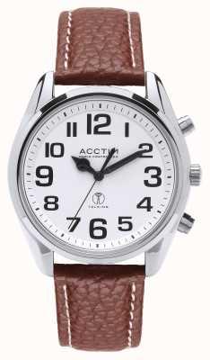 Acctim Reloj de cuero marrón parlante peregrino para hombres 60556