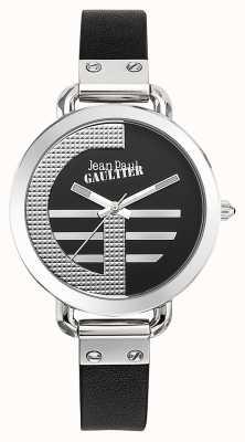 Jean Paul Gaultier Ícono de mujer g correa de cuero negro esfera negra JP8504315