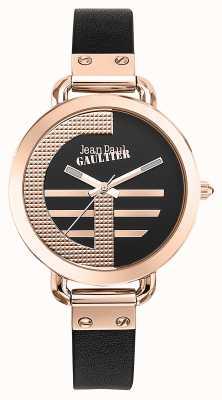 Jean Paul Gaultier Mujeres index g correa de cuero marrón esfera negra JP8504325