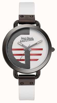 Jean Paul Gaultier Ícono de mujer blanco correa de cuero blanco esfera JP8504317