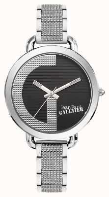 Jean Paul Gaultier Mujeres índice g pulsera de acero inoxidable esfera negra JP8504318