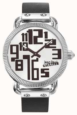 Jean Paul Gaultier Mens index correa de cuero negro esfera plateada JP8504405
