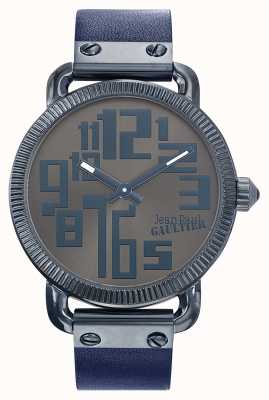 Jean Paul Gaultier Cinturón de cuero negro para hombre con esfera de bronce JP8504406