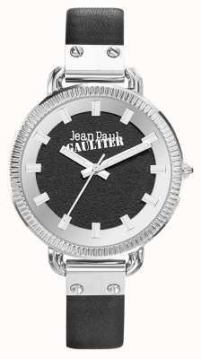 Jean Paul Gaultier Correa de cuero negro para mujer con esfera negra JP8504312
