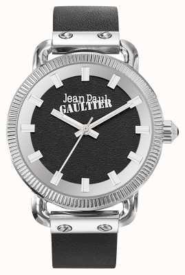 Jean Paul Gaultier Cinturón negro de cuero con índices para hombre, esfera negra JP8504407