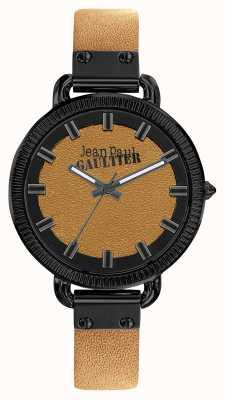 Jean Paul Gaultier Correa de cuero marrón con índices para hombre, esfera marrón JP8504409
