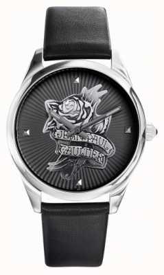 Jean Paul Gaultier Navy tatoo correa de cuero negro esfera negra JP8502412