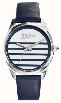 Jean Paul Gaultier Correa de cuero azul marino esfera blanca JP8502409
