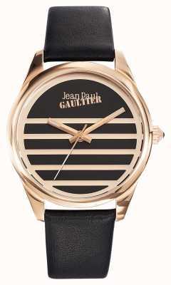 Jean Paul Gaultier Correa de cuero negro azul marino con esfera negra JP8502410