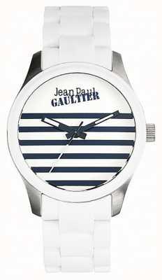Jean Paul Gaultier Enfants terribles blanco pulsera de acero de caucho esfera blanca JP8501120