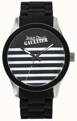 Jean Paul Gaultier Enfants terribles pulsera de acero en caucho negro esfera negra JP8501121