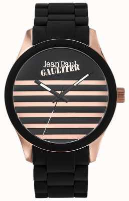 Jean Paul Gaultier Enfants terribles pulsera de acero en caucho negro esfera negra JP8501122